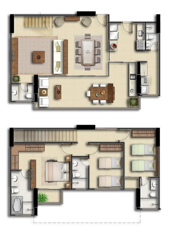 plantas de casas com 3 quartos sobrado com suítes