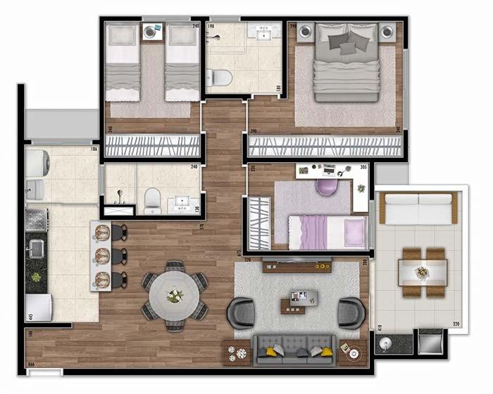 plantas de casas com 3 quartos com ilha na cozinha