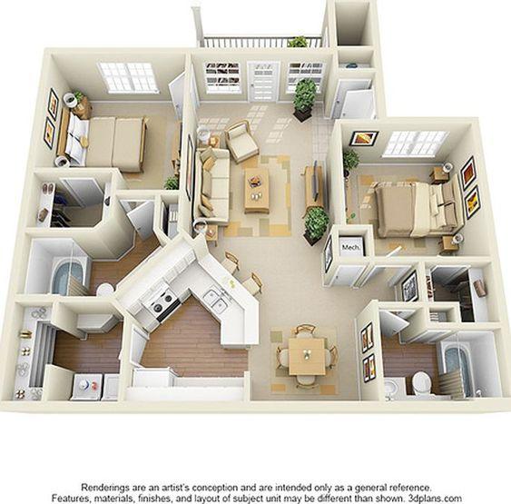 planta de casa com 2 quartos suíte