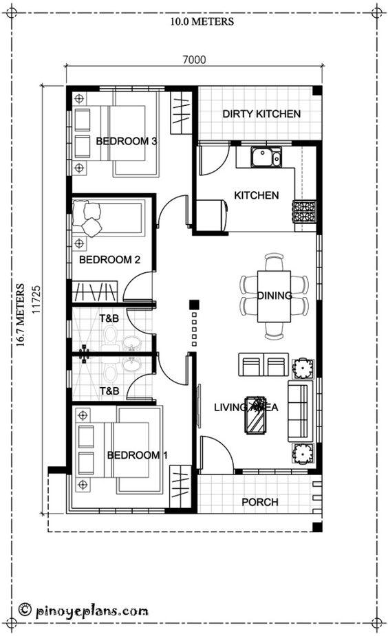 plantas de casas com 3 quartos com suíte