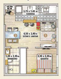planta de casa pequena com cozinha americana e um quarto