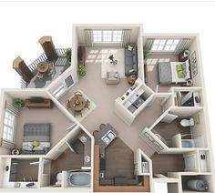 planta de casa com 2 quartos cozinha americana