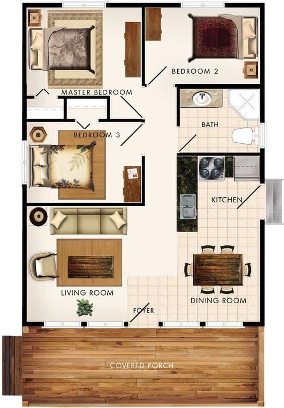 plantas de casas com 3 quartos simples