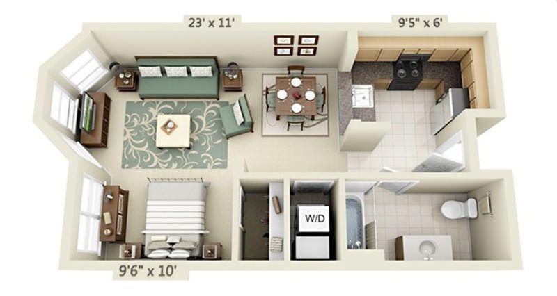 planta de casa pequena com cozinha americana e quarto aberto