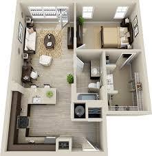 planta de casa pequena com cozinha aberta e um quarto