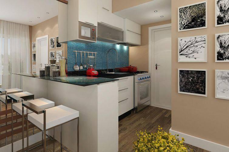 Cozinha americana pequena simples e bancada de vidro.