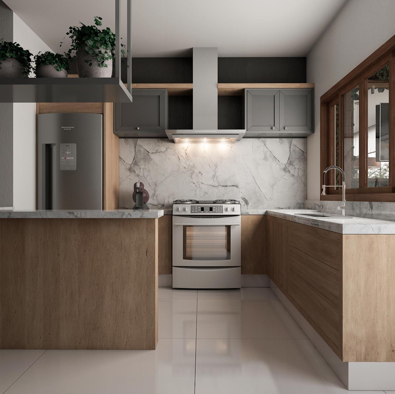 Decoração moderna com armários de madeira e bancada de mármore.