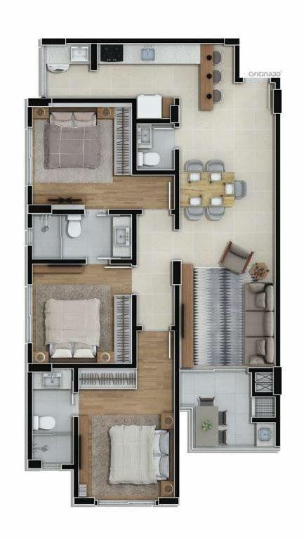 plantas de casas com 3 quartos com suíte e salas