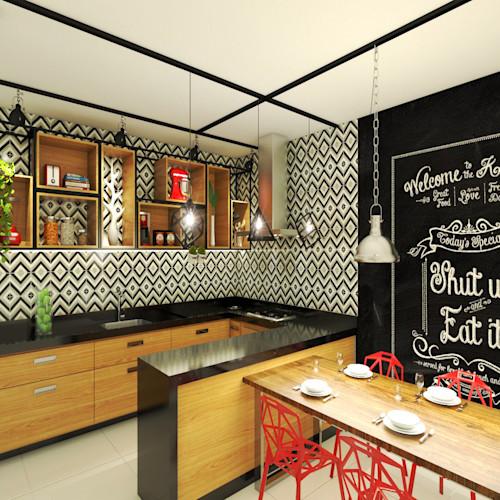 Decoração moderna com armário de madeira e ladrilho hidráulico.