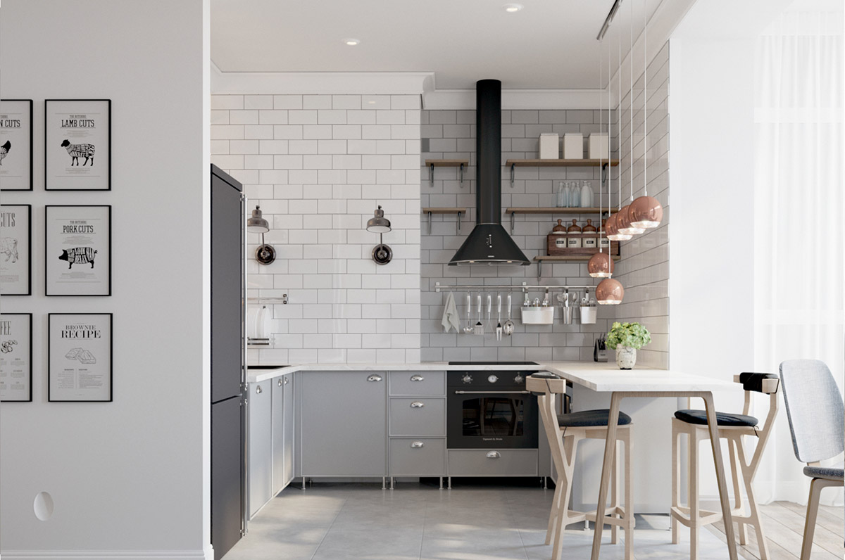 Cozinha planejada em U com azulejo metro white.