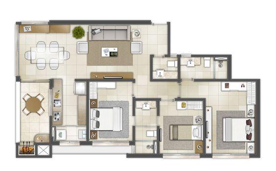 planta de casa com área gourmet integrada