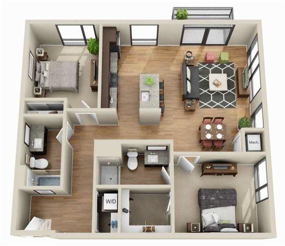 planta de casa com 2 quartos e cozinha com ilha