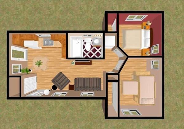 planta de casa com 2 quartos e  cozinha aberta