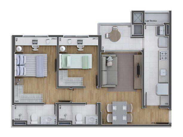 plantas de casas térreas com dois banheiros