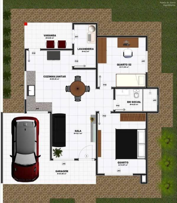 planta de casa com 2 quartos e cozinha integrada com sala de jantar