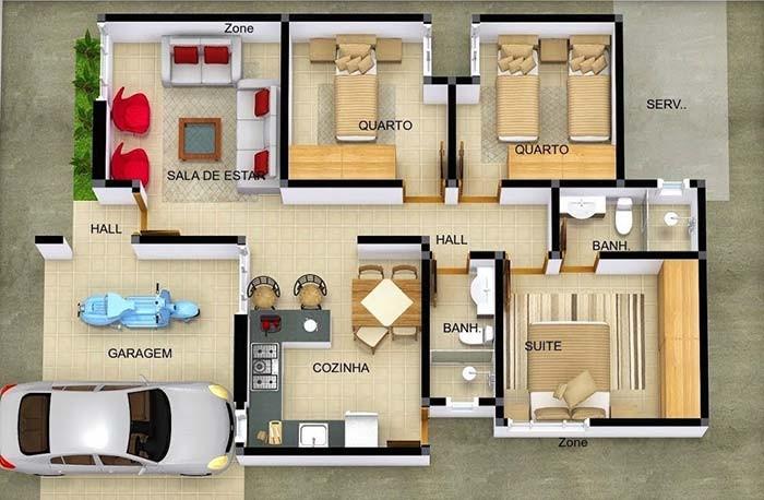 projeto de casa com 3 quartos e suíte