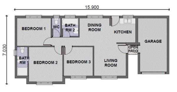 projeto de casa simples com três quartos