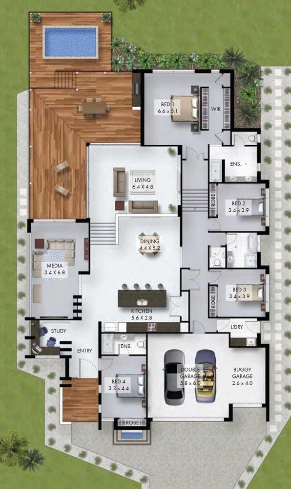planta de casa com piscina e deck grande
