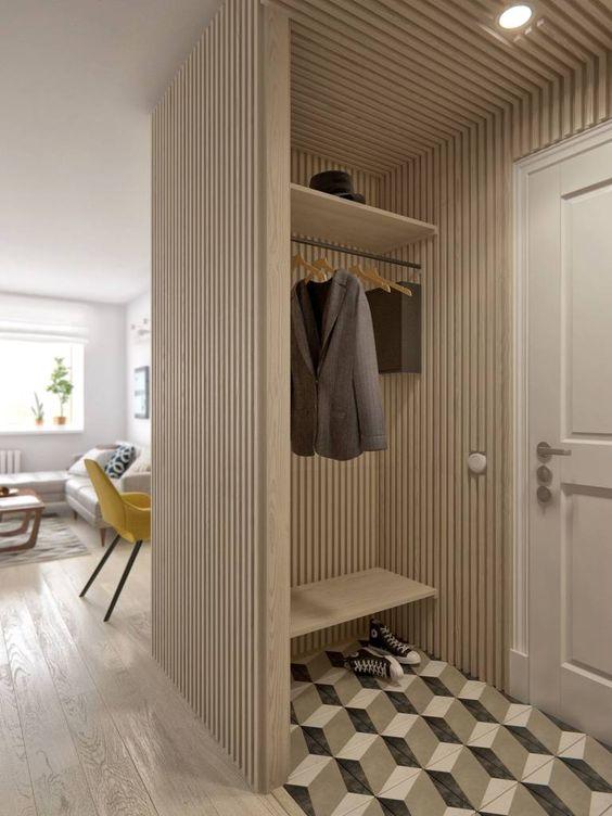 hall de entrada moderno com piso em 3D