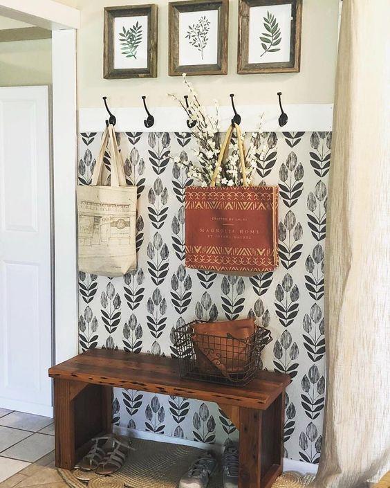 papel de parede flora preto e branco