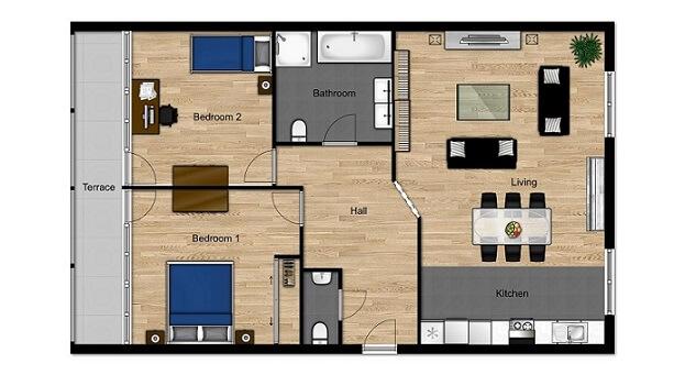 planta de casa com 2 quartos  com sala integrada
