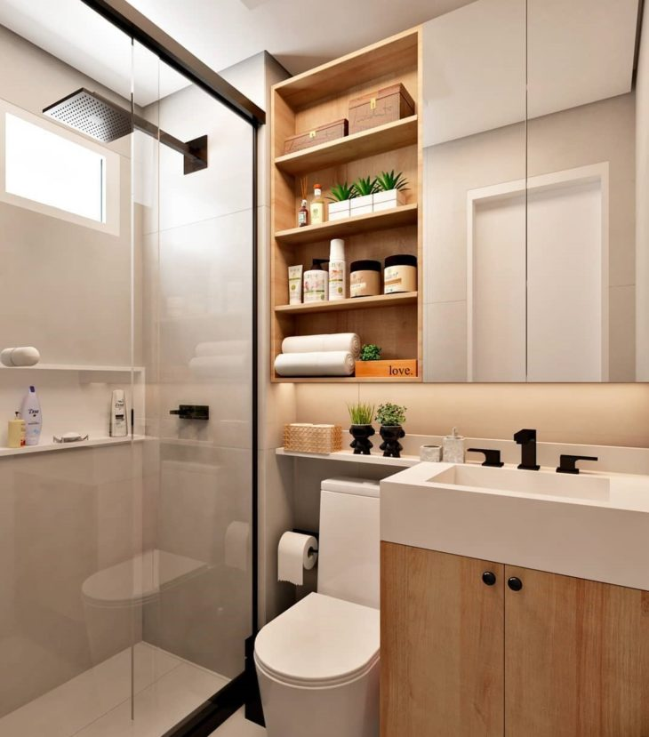 Modelos de banheiro pequeno com prateleira.