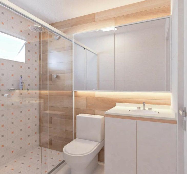 Decoração simples com azulejo moderno e revestimento que imita madeira.