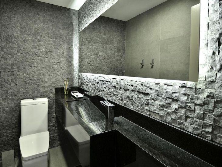 Modelos de banheiro moderno com azulejo de pedra.