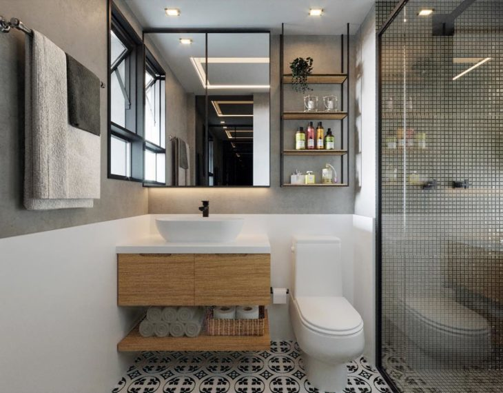 Modelos de banheiro moderno com parede de cimento queimado e pastilhas metálicas.