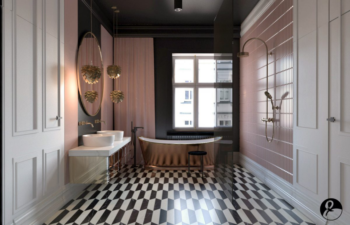 Modelos de banheiro luxuoso com azulejo rosa, banheira dourada e piso preto e branco.