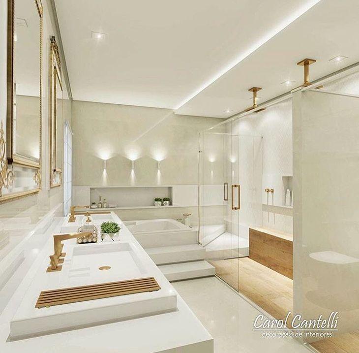 Modelos de banheiro luxuoso branco.