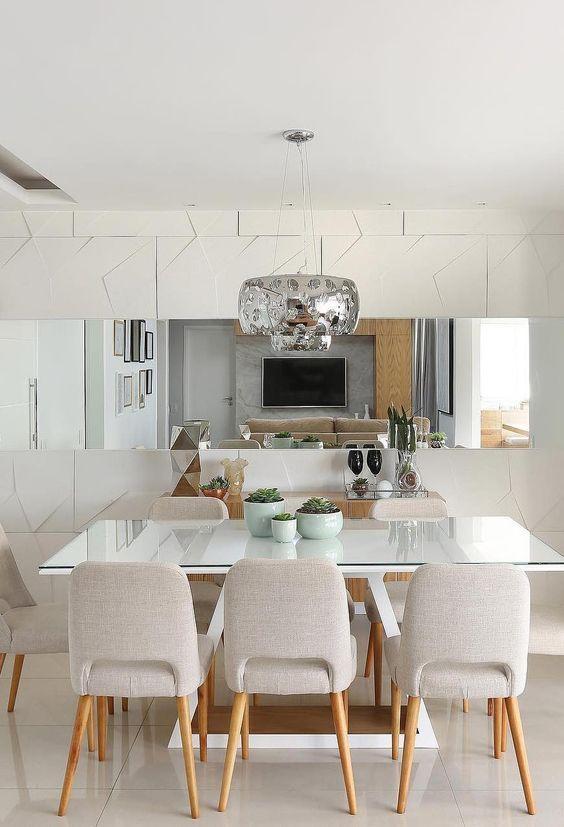 sala de jantar elegante e chique branca