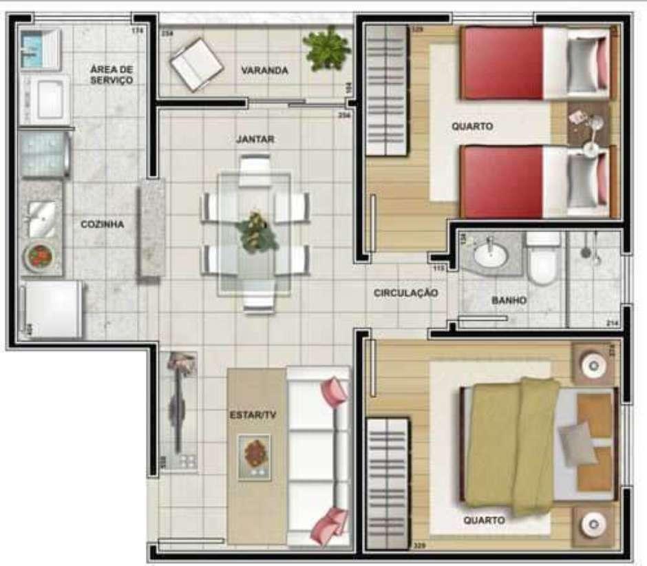 dois quartos e sala integrada da casa em L