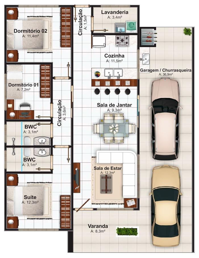 plantas de casas com 3 quartos e uma vaga
