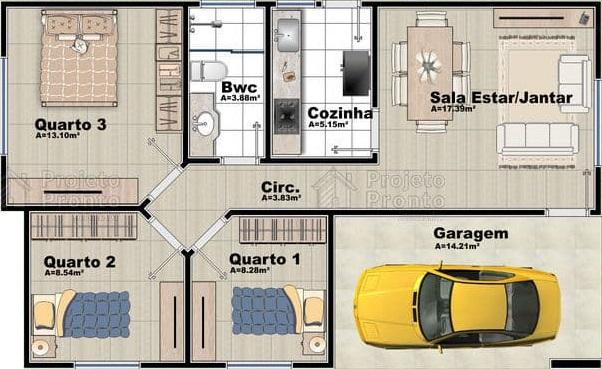 plantas de casas com 3 quartos  e sala de jantar