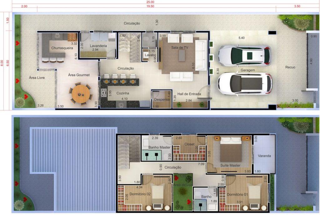 plantas de casas com 3 quartos  e área gourmet