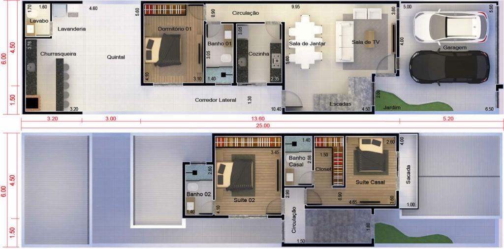 plantas de casas com 3 quartos e suíte com closet