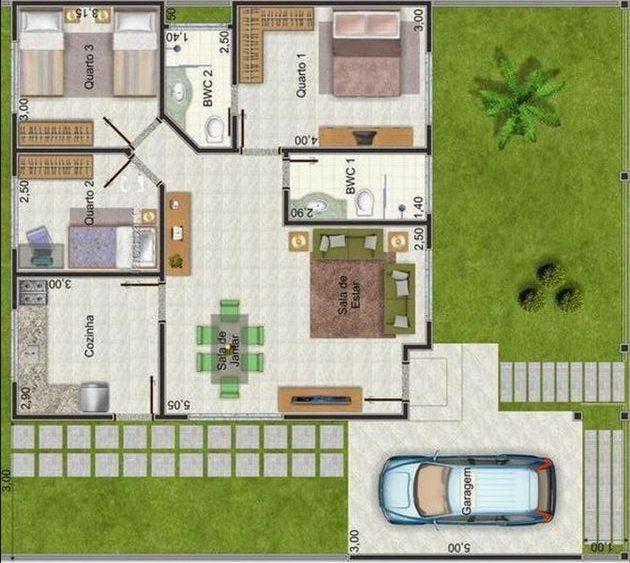 plantas de casas com 3 quartos com jardim