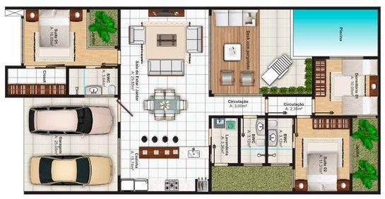 plantas de casas com 3 quartos com piscina