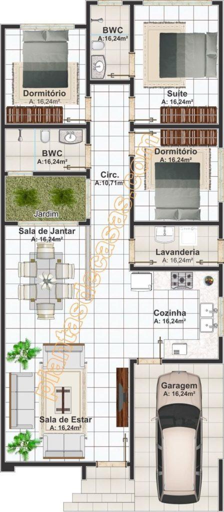 plantas de casas com 3 quartos para terreno estreito