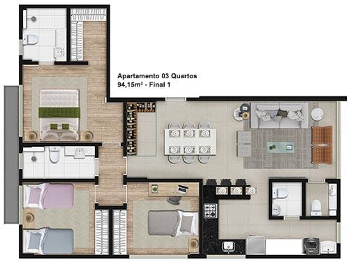 plantas de casas com 3 quartos  em L