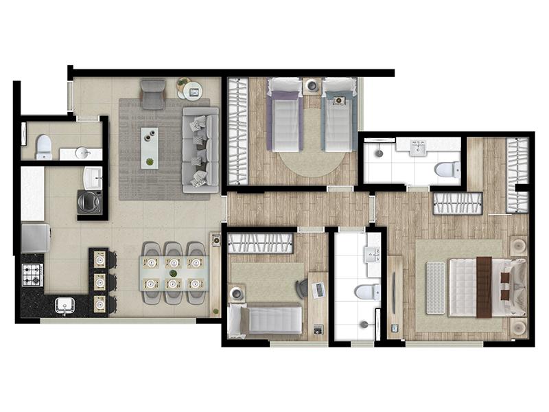 plantas de casas com 3 quartos com cozinha americana