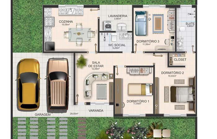 plantas de casas com 3 quartos  com suíte e cozinha