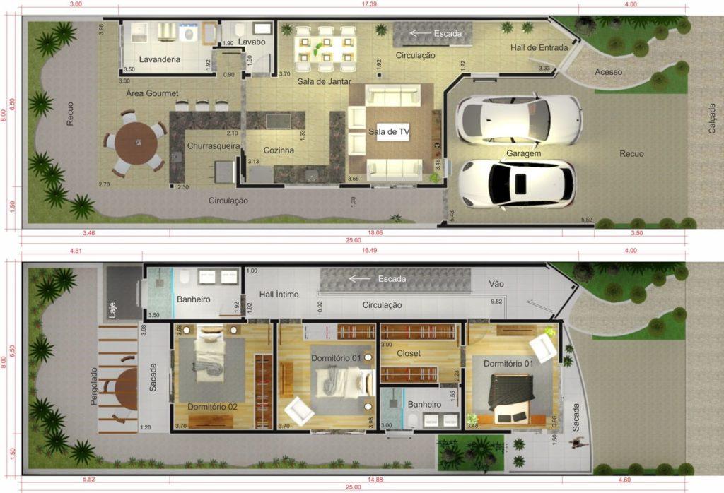 plantas de casas com 3 quartos e duas vagas de garagem