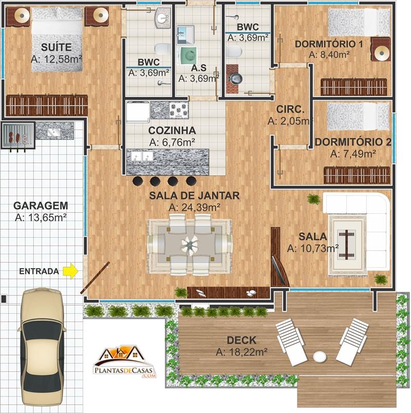 plantas de casas com 3 quartos com deck de madeira