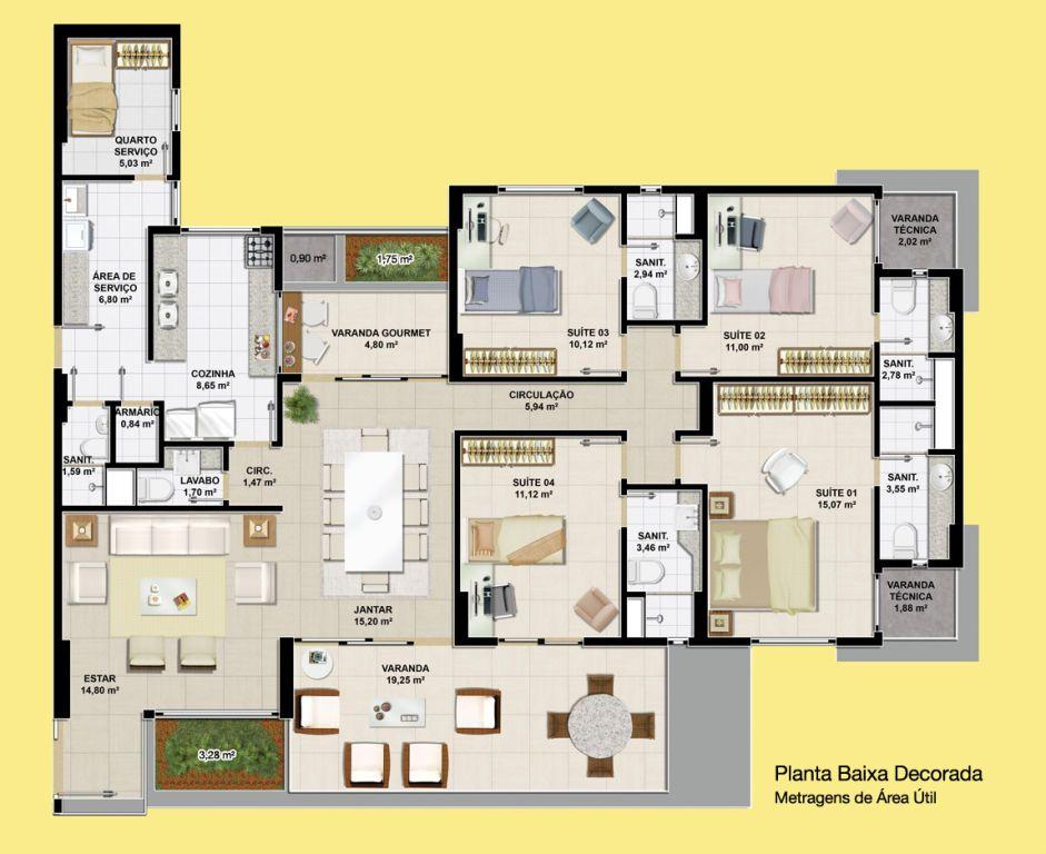 Planta casa em l 4 quartos