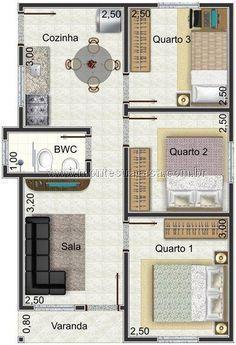 planta de casa moderna com dois dormitórios