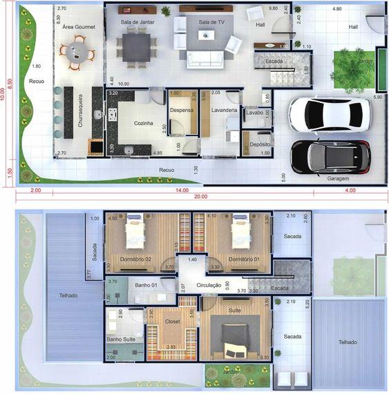 planta de sobrado com três quartos e uma suite