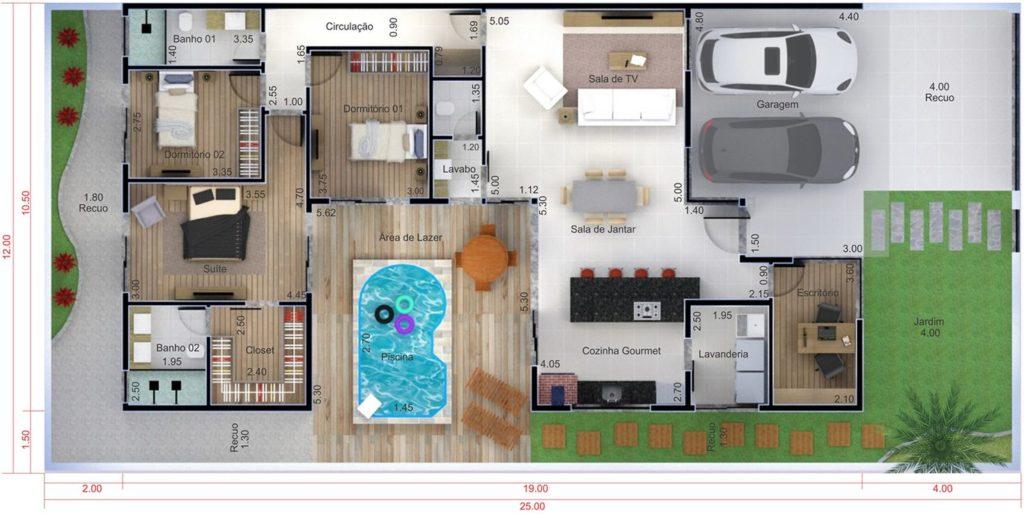 plantas de casas térreas com piscina