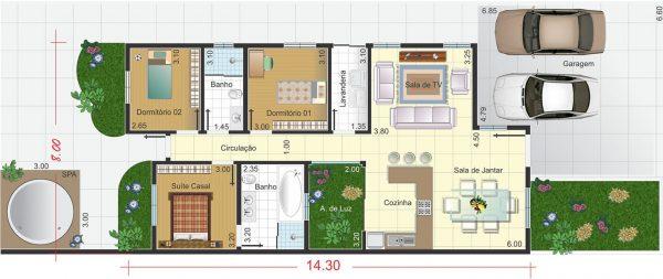 plantas de casas térreas com três quartos